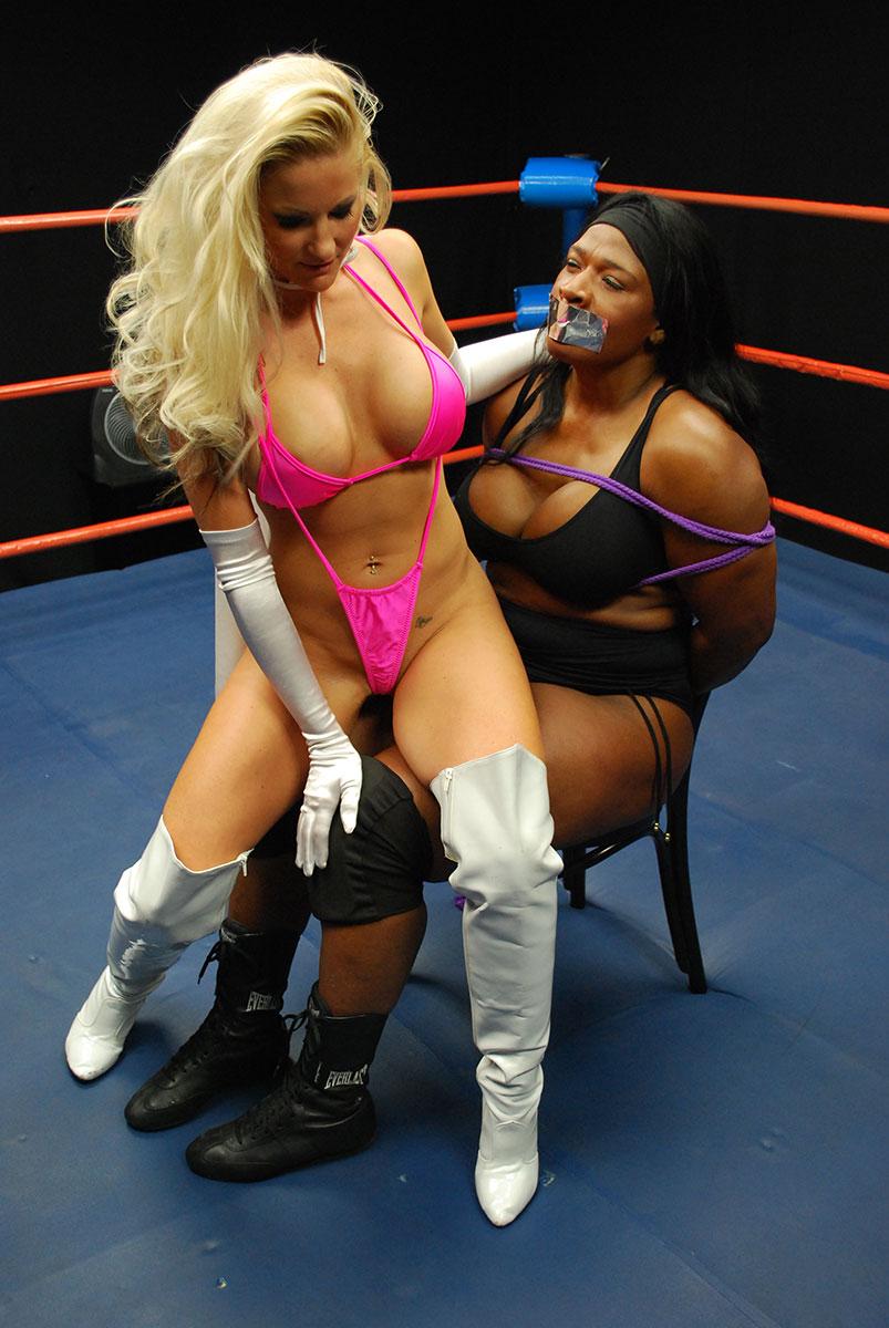 Pantyhose super heroine wrestling 9