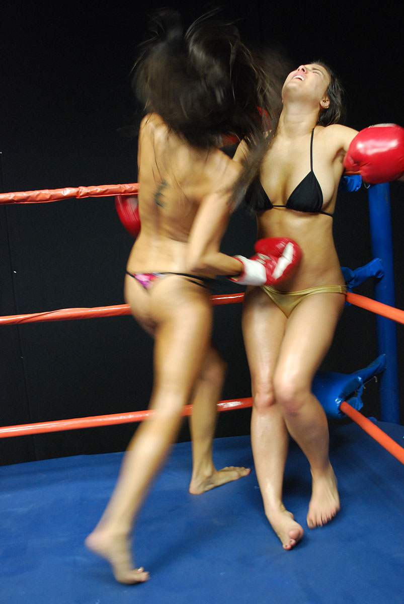 Topless females boxing