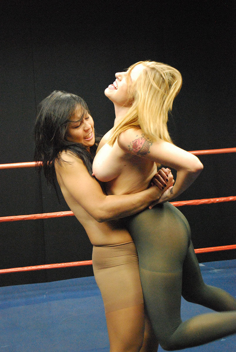 Womans mat style wrestling in tights