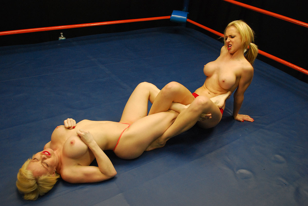 Naked wrestlers fight for their victory