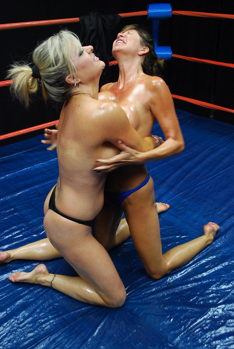 Ebony oil wrestling