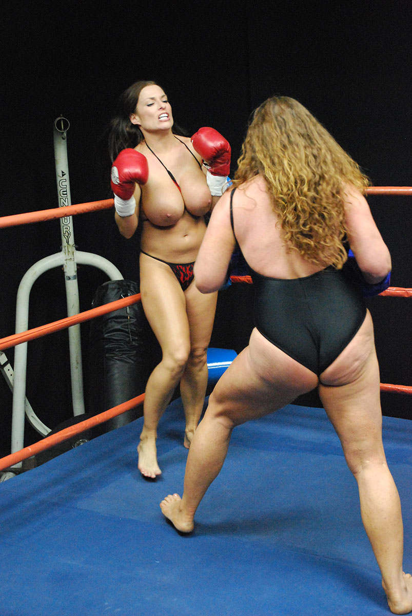 With naked female boxing