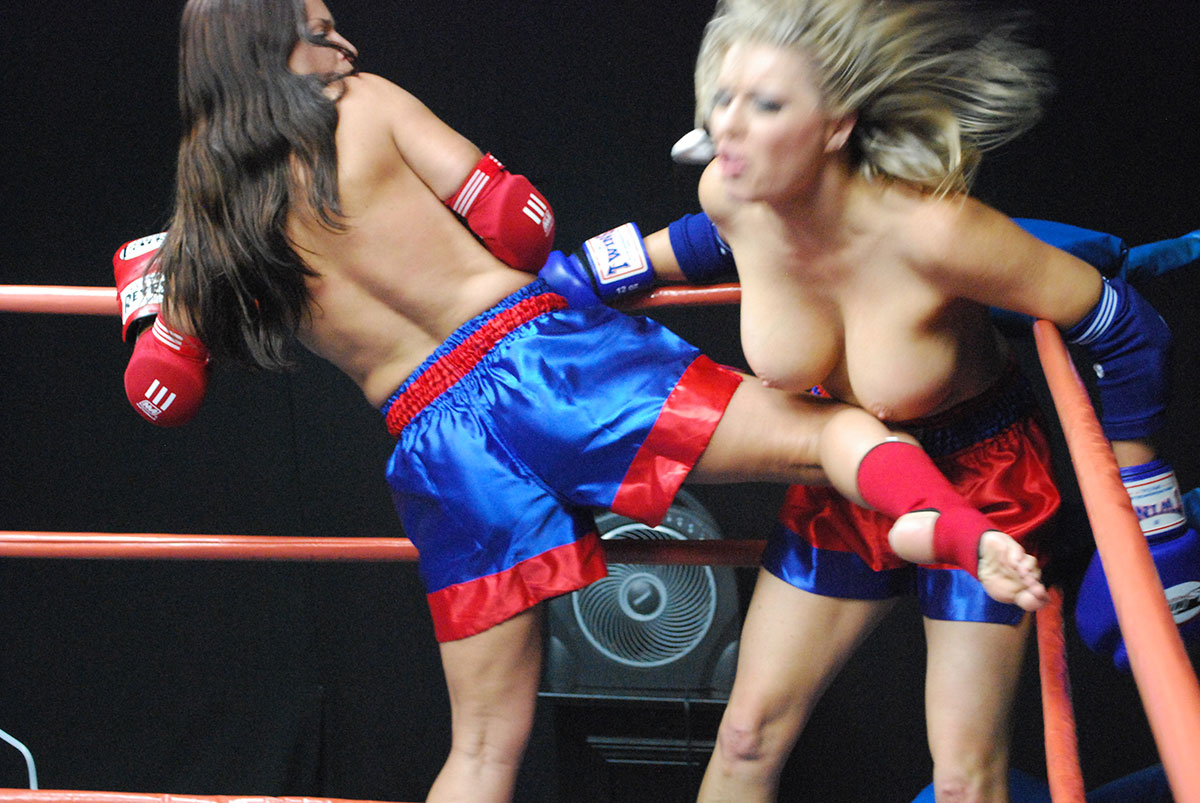 topless girls boxing